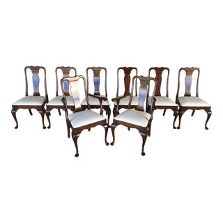 Stickley Queen Anne Chippendale Style Solid Cherry Dining Chairs - Set of 8 For Sale