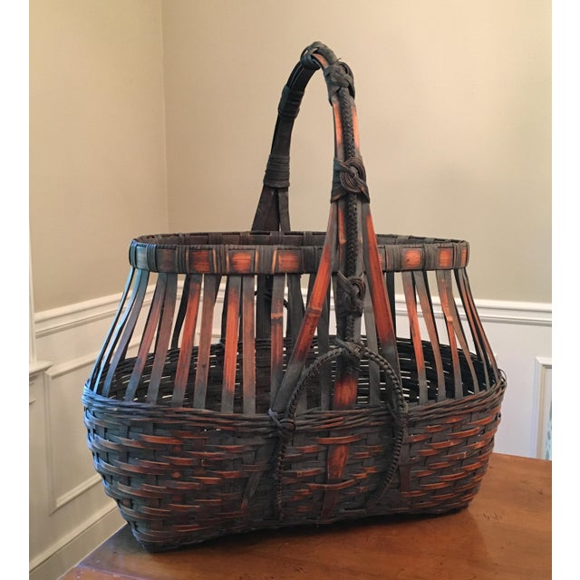 Brown Monumental Bamboo Basket Asian Ikebana For Sale - Image 8 of 8
