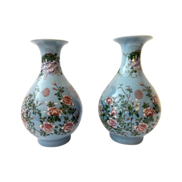 Powder Blue Famille Rose Vases- A Pair For Sale