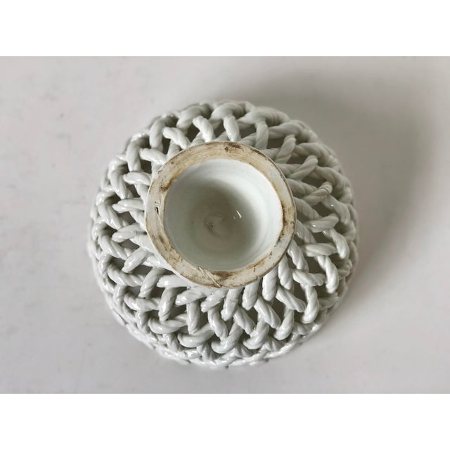Ceramic Italian Woven Rope White Ceramic Compote For Sale - Image 7 of 12