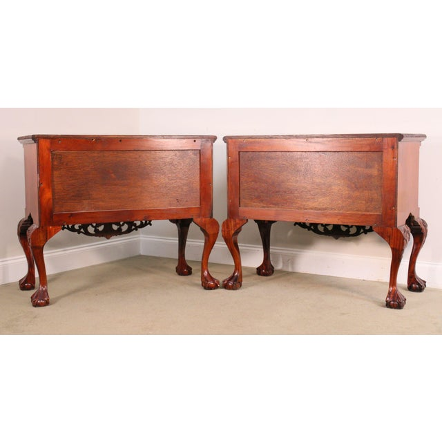 1980s Chippendale Style Pair Carved Mahogany Ball & Claw Foot Lowboys For Sale - Image 5 of 13