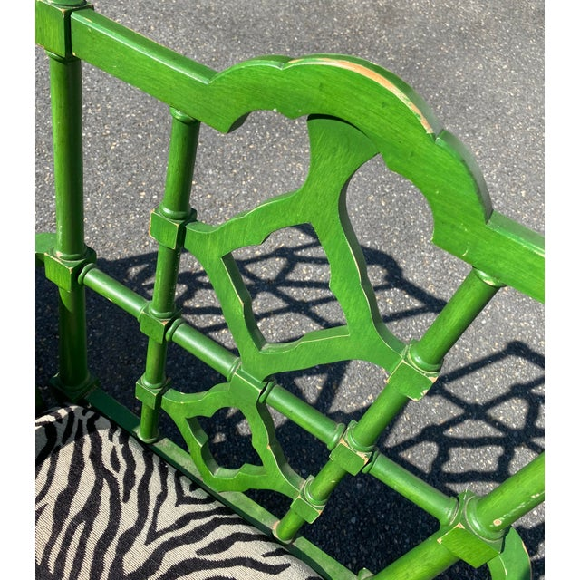 Contemporary Vintage Hollywood Regency Green Pagoda Chairs with Zebra Fabric - a Pair For Sale - Image 3 of 13