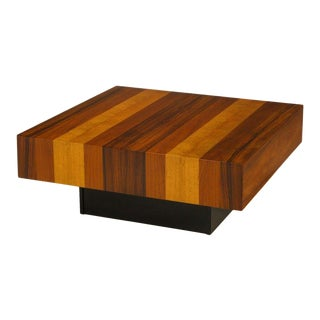 Danish Exotic Wood Parquetry Top Square Coffee Table For Sale
