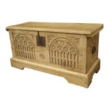 Image of Antique Gothic Style Carved Oak Trunk, Circa 1900 For Sale