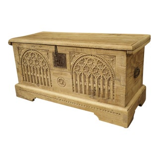 Antique Gothic Style Carved Oak Trunk, Circa 1900 For Sale