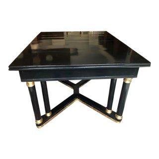 Antique Black Lacquer & Brass Legs Dining Table For Sale