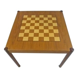 1960s Danish Modern Georg Peterson Møbilfabrik Flip Top Chess Backgammon Side Table For Sale