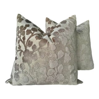 "Blossom Raised Velvet Floral in Natural Down Filled Pillows - a Pair, 21"" For Sale"