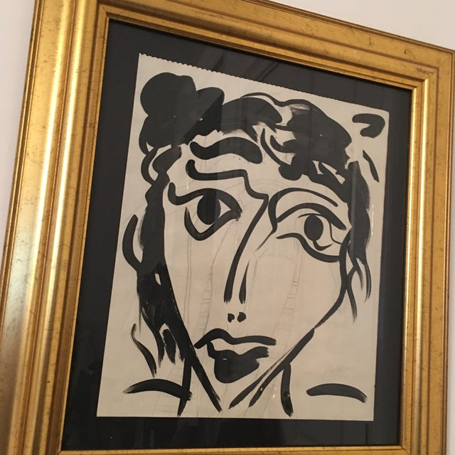 Abstract 1960s Vintage Peter Keil Abstract Female Face Painting For Sale - Image 3 of 9