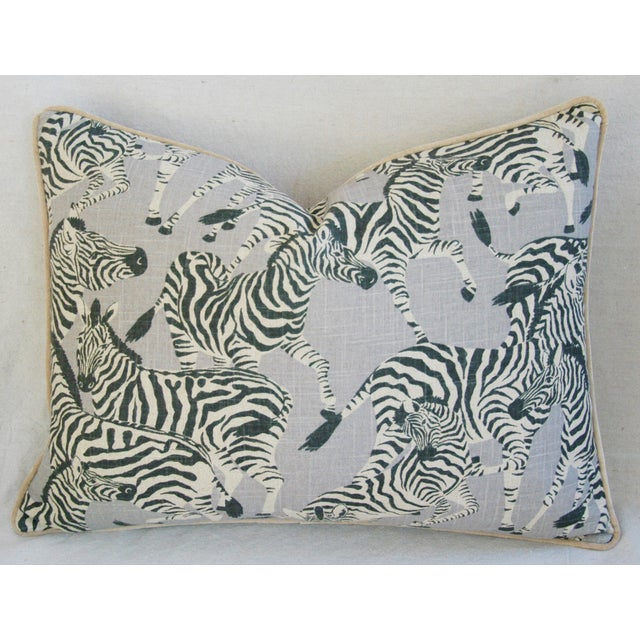 "Custom Safari Zebra Linen/Velvet Feather & Down Pillows 24"" x 18"" - Pair For Sale - Image 4 of 11"