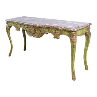 Antique Painted & Parcel Gilt Louis XV Style Console Table With Marble Top For Sale