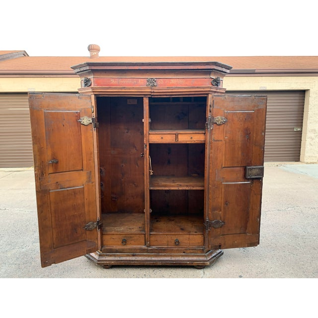 18th Century Austrian Carved and Painted Wood Cupboard For Sale In Denver - Image 6 of 13