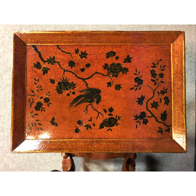 Lacquered and Painted Tray Top Side Tables - a Pair For Sale - Image 10 of 11