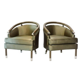 Pair of Romweber Limed Oak Club Chairs For Sale