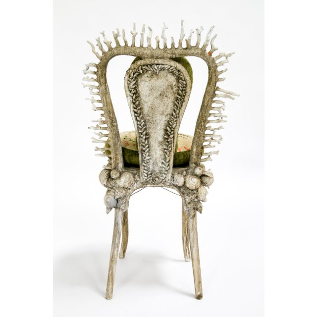 Late 20th Century White Fantasy Shell and Coral Chair With Embroidered Pillow For Sale - Image 5 of 13