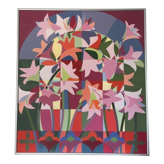 1980s Cubist Floral Oil Painting on Canvas