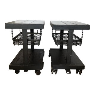 Industrial Side/End Tables - A Pair For Sale