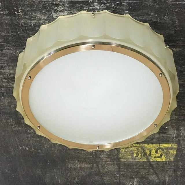 Metal Large-Scale Lucite and Glass Flush Mount by Sirmos For Sale - Image 7 of 10