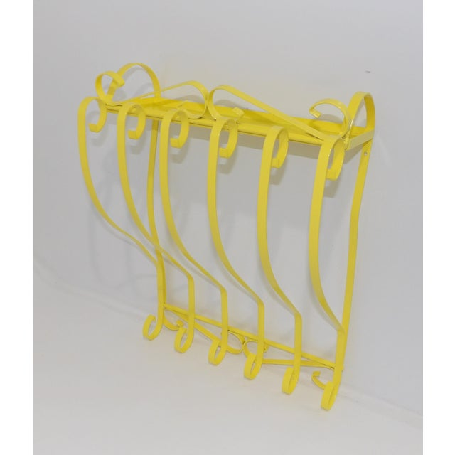 1950s Antique Electric Yellow Wrought Iron Patio Shelf For Sale - Image 5 of 11