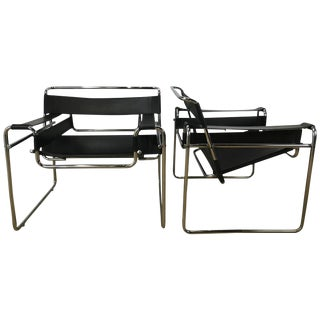 Leather and Chrome Wassily Chairs - a Pair