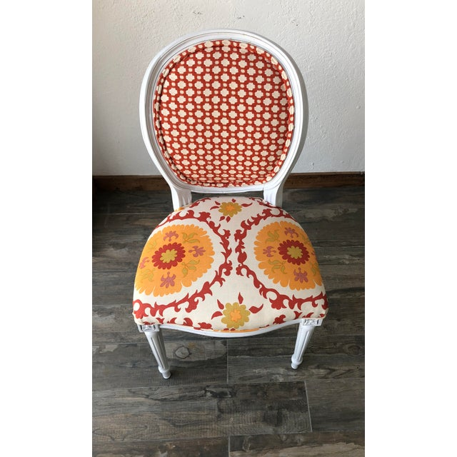 Louis XV Style White Round Back Side Chair For Sale - Image 4 of 5