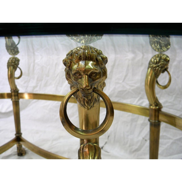 Vintage Brass Lion Head Cocktail Table For Sale In Milwaukee - Image 6 of 7