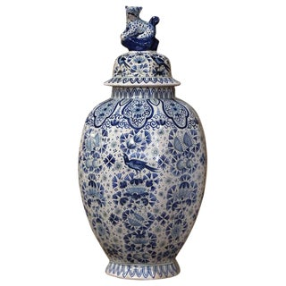 19th Century French Painted Blue and White Delft Faience Jar Vase With Lid For Sale