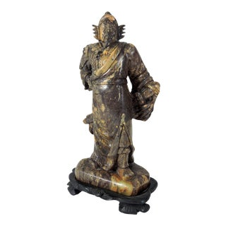 20th Century Japanese Soapstone Samurai Warrior Statue With Wood Stand For Sale