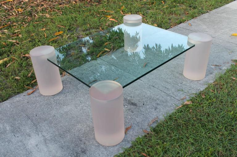 Pink Frosted Lucite Column Architectural Glass Coffee Cocktail Table  Chairish