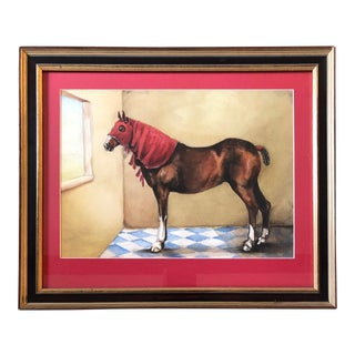 Original Vintage Horse With Hood Signed Watercolor Painting For Sale