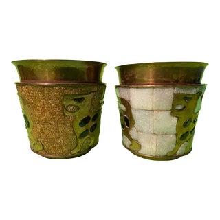 Salvador Teran Brass Glass Mossic Jaguar Cups - a Pair For Sale