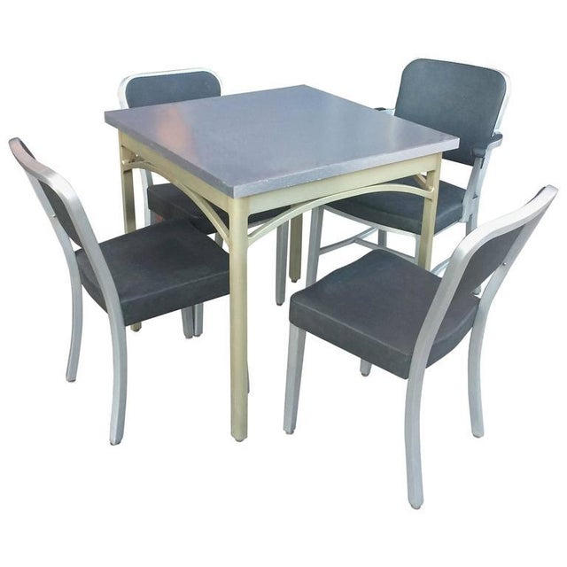 1940s Mid-Century Modern Brushed Aluminium Dining Set - 5 Pieces For Sale - Image 10 of 10