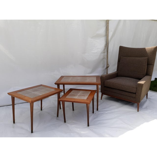 Brown Danish Modern Mahogany and Tile Set of 3 Nesting Tables For Sale - Image 8 of 10