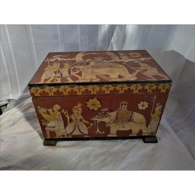 Antique Tea Chest Sri Lanka/Ceylonese Royal Procession Hand Painted For Sale - Image 12 of 12