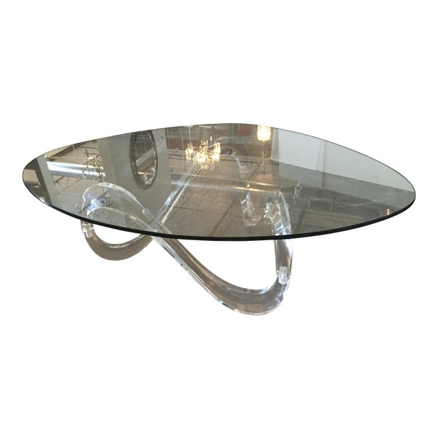 Modernist Sculptural Lucite Base and Glass-Top Coffee Table - Image 1 of 6