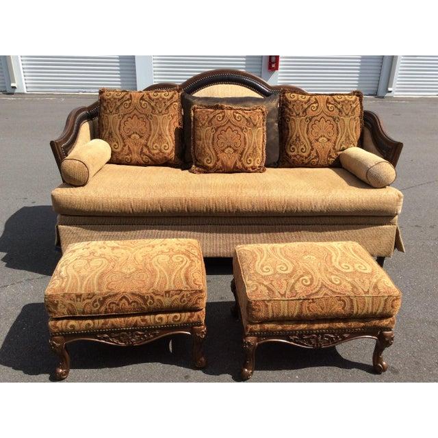 Chenille Sofa & 2 Ottomans - Image 9 of 11