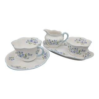 "Vintage English Shelley ""Blue Rock"" Floral Tea Set"
