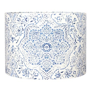 Moroccan Style Blue and White Hand Printed Fabric Lamp Shade