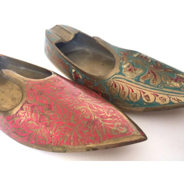 Metal Vintage Mid Century India Cast Brass Incised Enamel Shoes Incense Burner Ashtrays - Set of 2 For Sale - Image 7 of 13