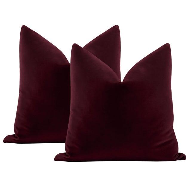 "Not Yet Made - Made To Order 22"" Merlot Italian Velvet Pillows - a Pair For Sale - Image 5 of 5"