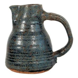 Vintage Signed Studio Art Pottery Blue Stoneware Pitcher For Sale
