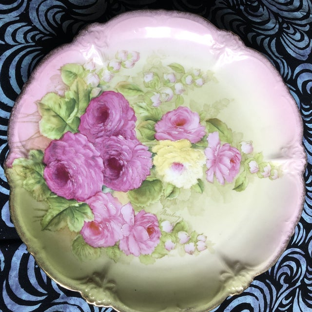 Vintage Hand Painted and Signed Vintage Bavarian Charger Plate For Sale In New York - Image 6 of 13