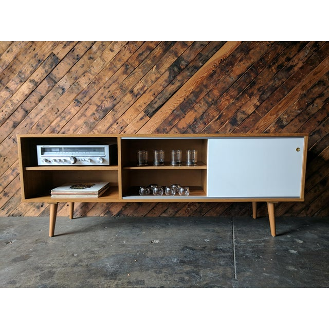 Brown Custom Teak Mid Century Style Credenza For Sale - Image 8 of 8