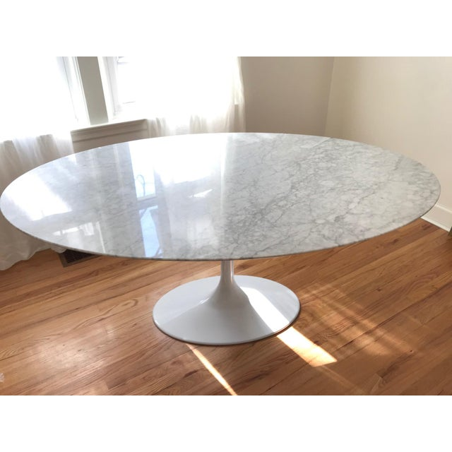 Saarinen Style Oval Marble Tulip Dining Table For Sale - Image 4 of 8