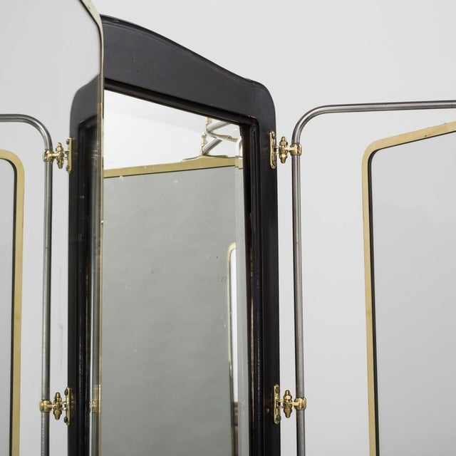 Gold French Brass and Ebonised Wood Mirrored Screen Circa 1890 For Sale - Image 8 of 9