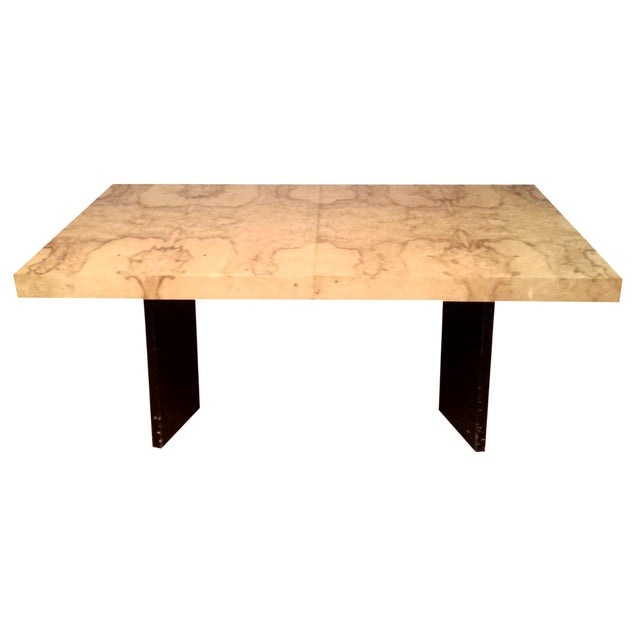 Milo Baughman-Attributed Burl Dining Table - Image 1 of 11
