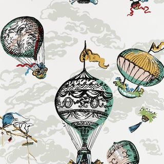 Schumacher Balloons Wallpaper in Multi For Sale