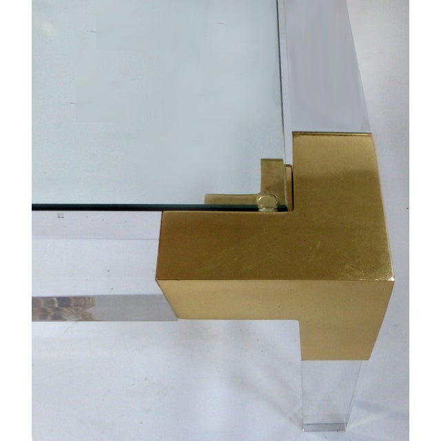 Charles Hollis Jones Lucite & Brass Coffee Table - Image 6 of 8