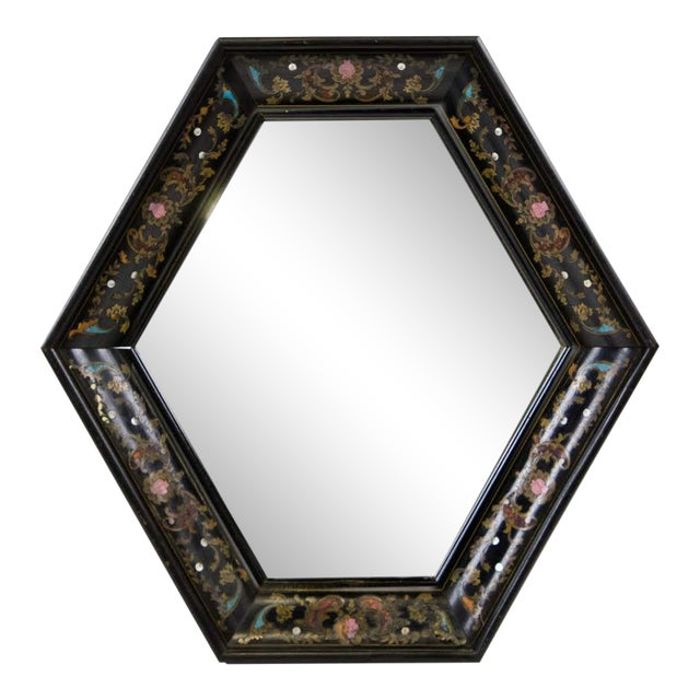 Image of Italian Style Painted and Brass Inlaid Hexagonal Wall Mirror