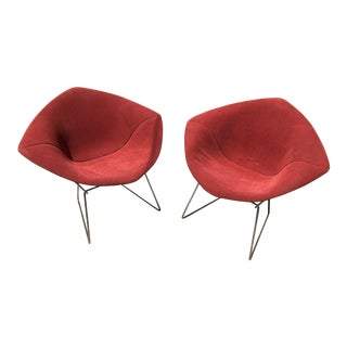 Knoll Bertoia Vintage Red Diamond Chairs - a Pair